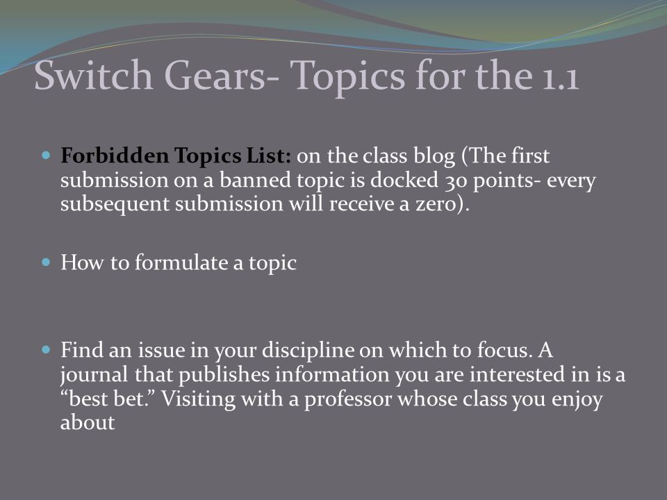 Switch Gears- Topics for the 1.1