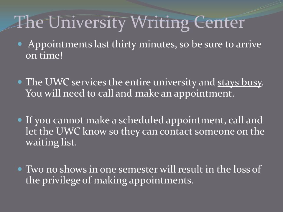 The University Writing Center