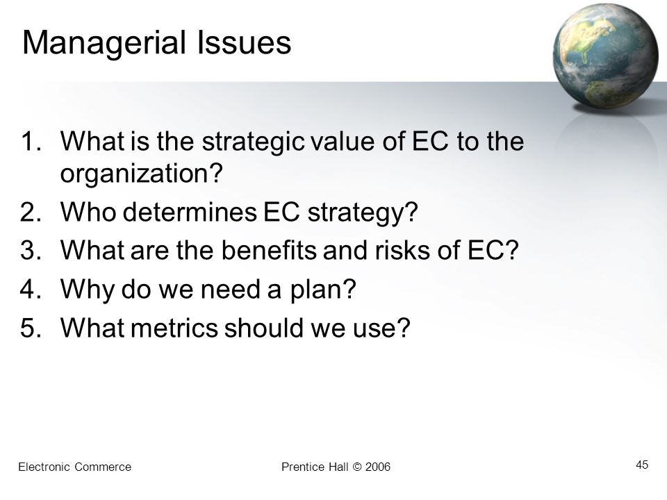 Managerial Issues What is the strategic value of EC to the organization Who determines EC strategy