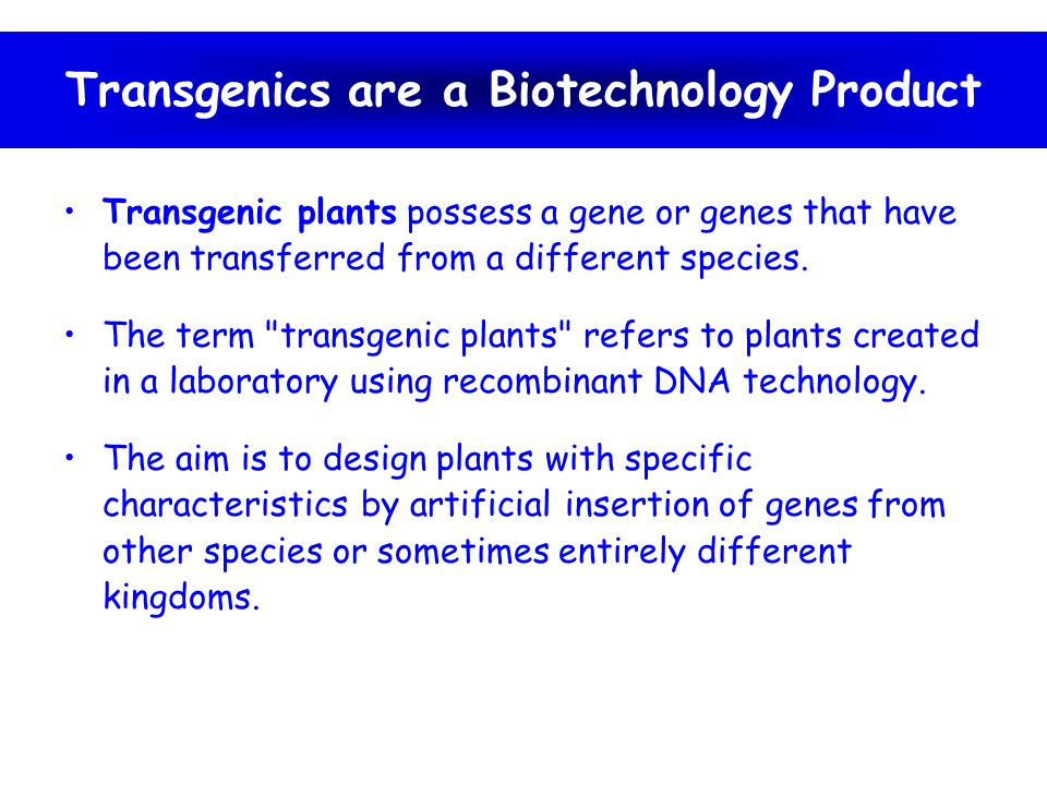 Transgenics are a Biotechnology Product
