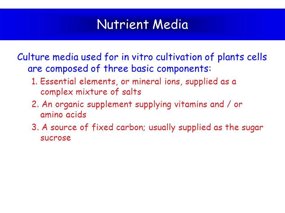 Nutrient Media Culture media used for in vitro cultivation of plants cells are composed of three basic components:
