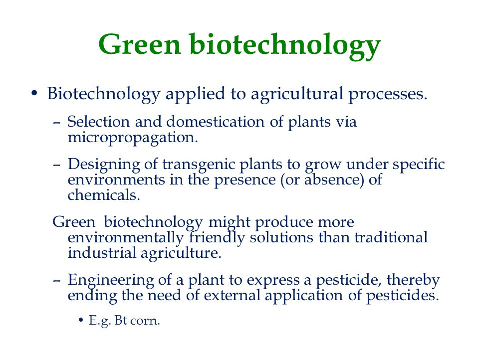 Green biotechnology Biotechnology applied to agricultural processes.