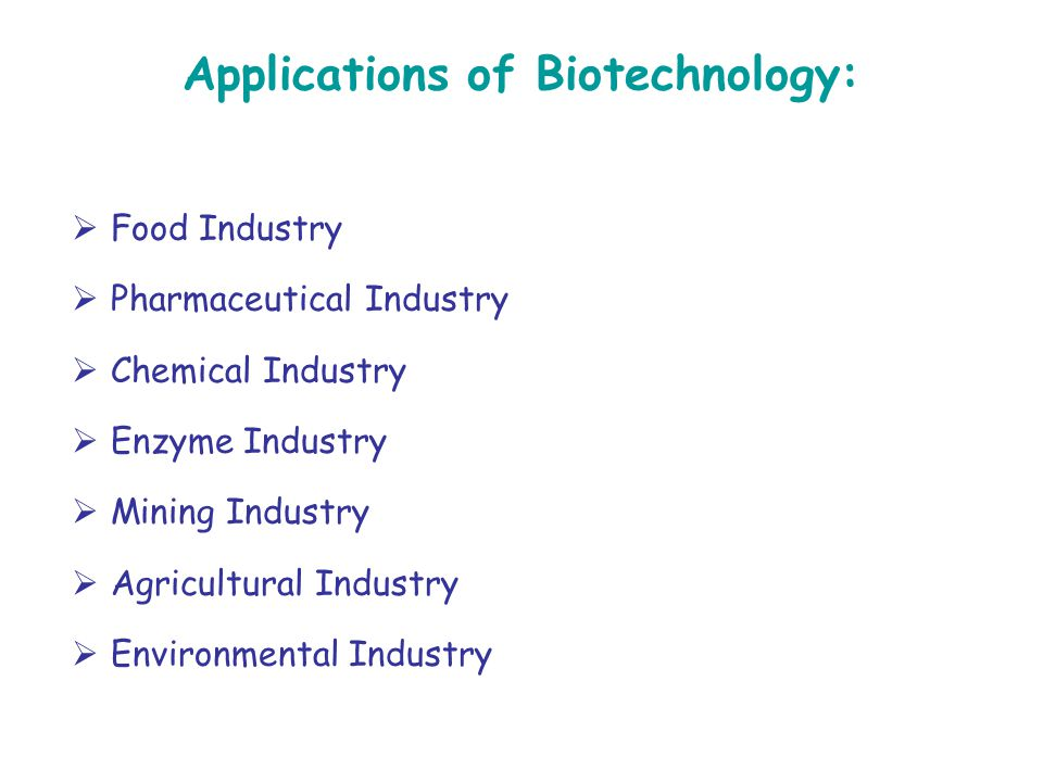 Applications of Biotechnology: