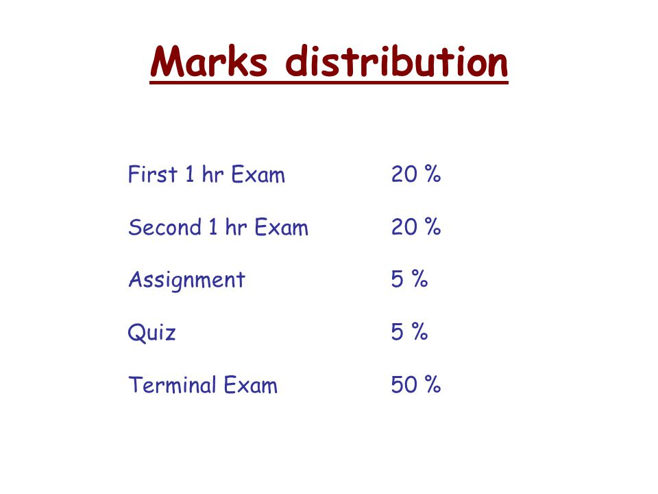 Marks distribution First 1 hr Exam 20 % Second 1 hr Exam 20 %
