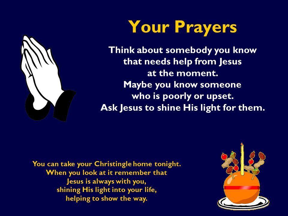 Your Prayers Think about somebody you know that needs help from Jesus