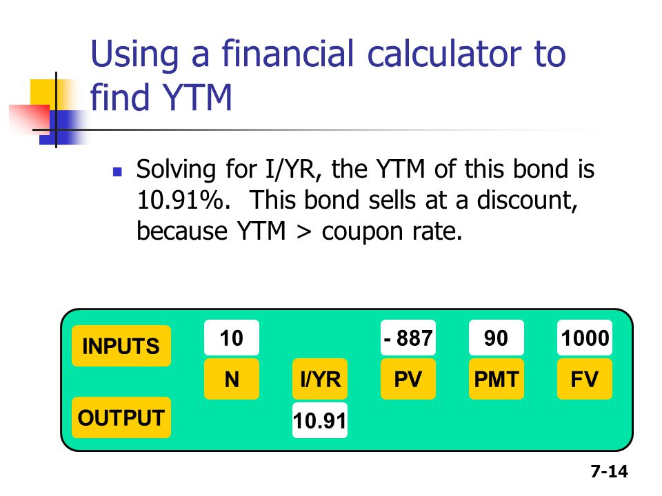 Using a financial calculator to find YTM