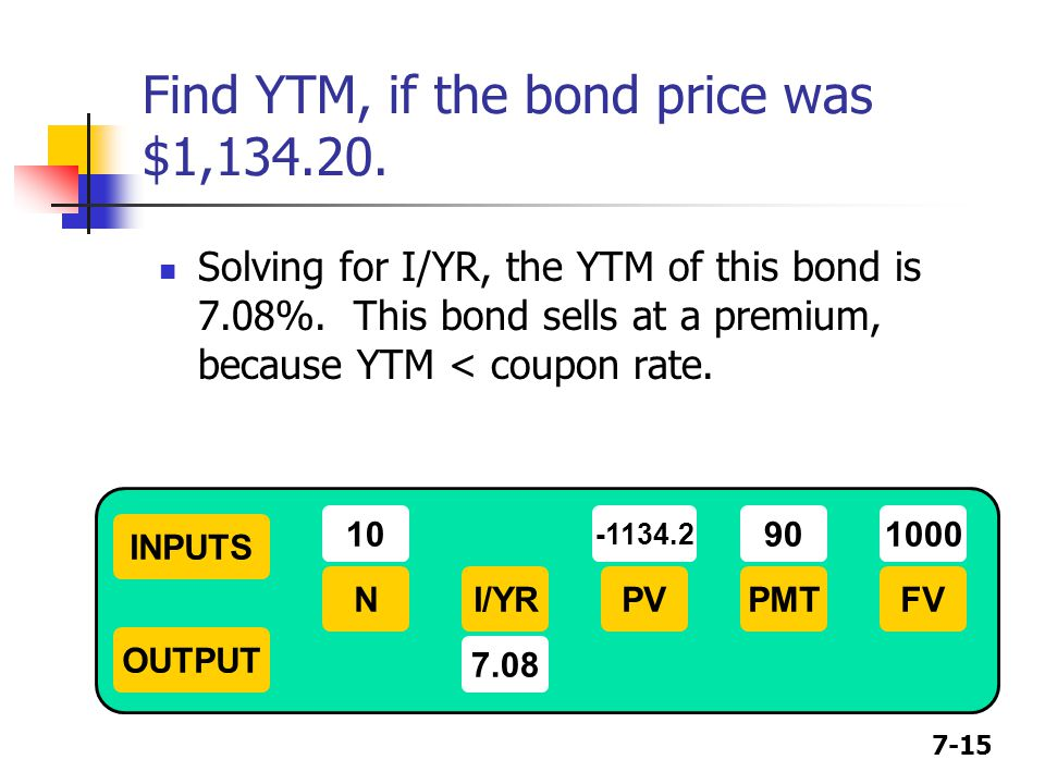 Find YTM, if the bond price was $1,134.20.