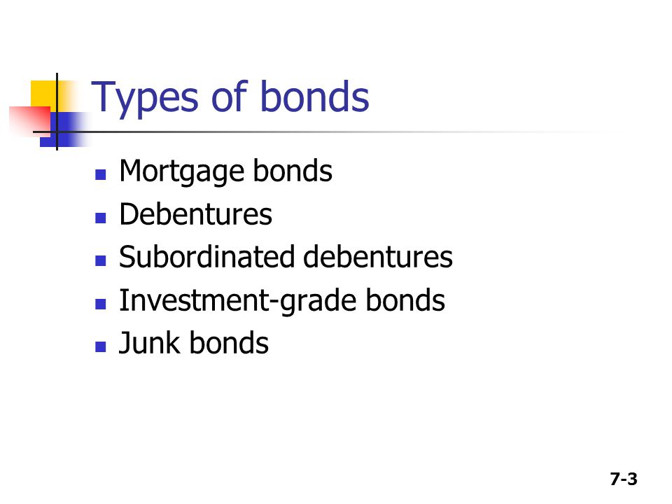 Types of bonds Mortgage bonds Debentures Subordinated debentures