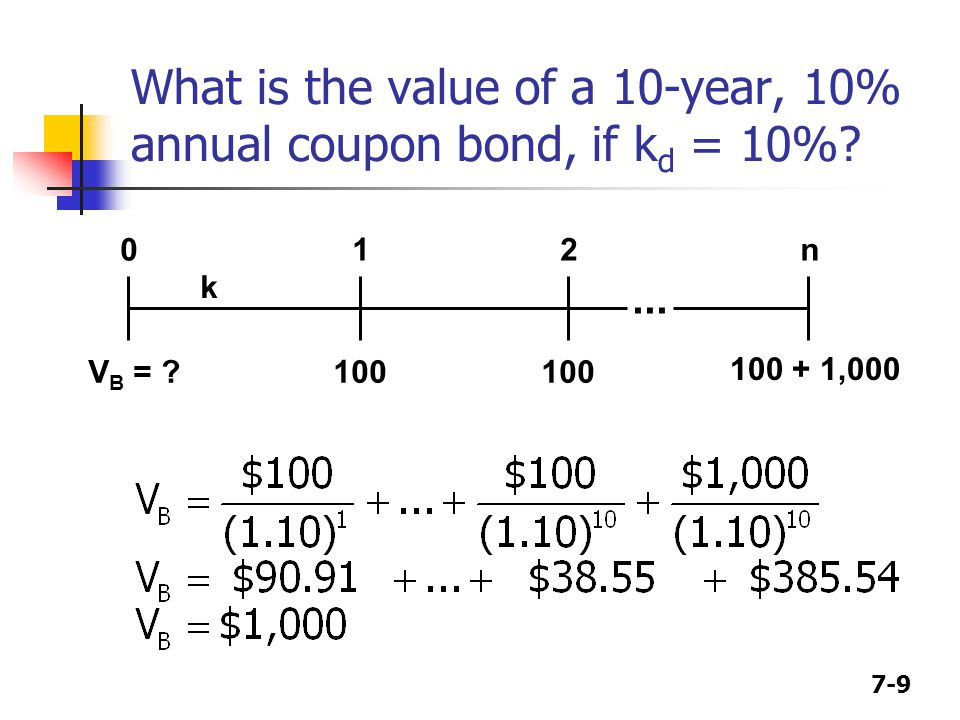 What is the value of a 10-year, 10% annual coupon bond, if kd = 10%