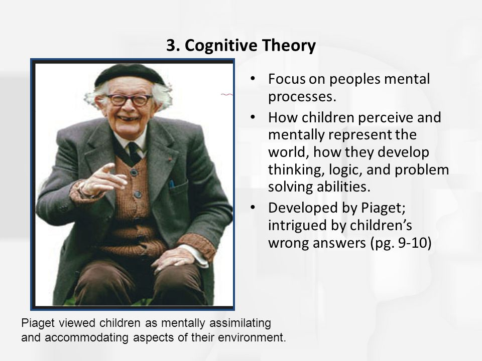 3. Cognitive Theory Focus on peoples mental processes.