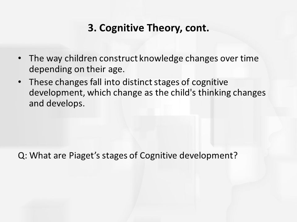 3. Cognitive Theory, cont. The way children construct knowledge changes over time depending on their age.