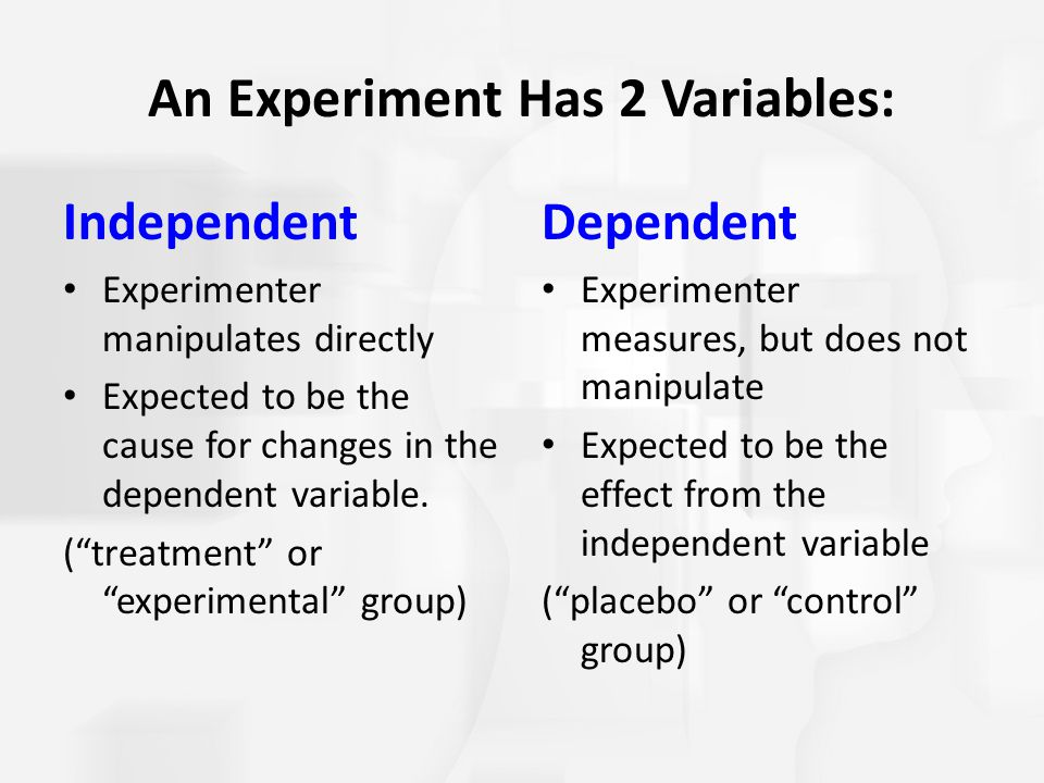 An Experiment Has 2 Variables: