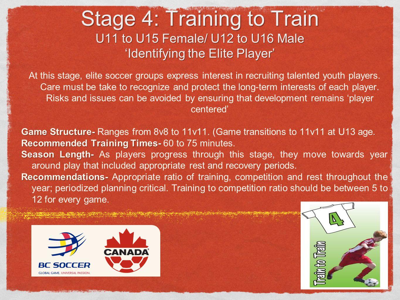 Stage 4: Training to Train U11 to U15 Female/ U12 to U16 Male 'Identifying the Elite Player'