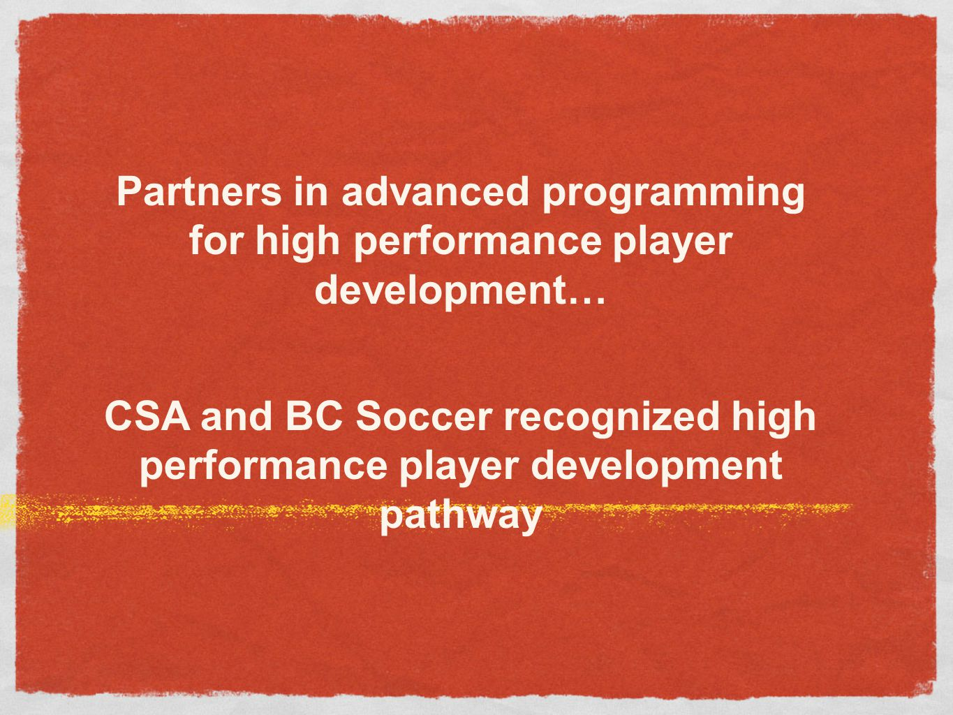 Partners in advanced programming for high performance player development…