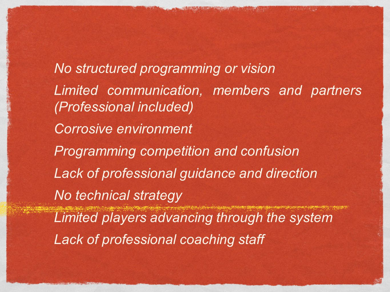 No structured programming or vision