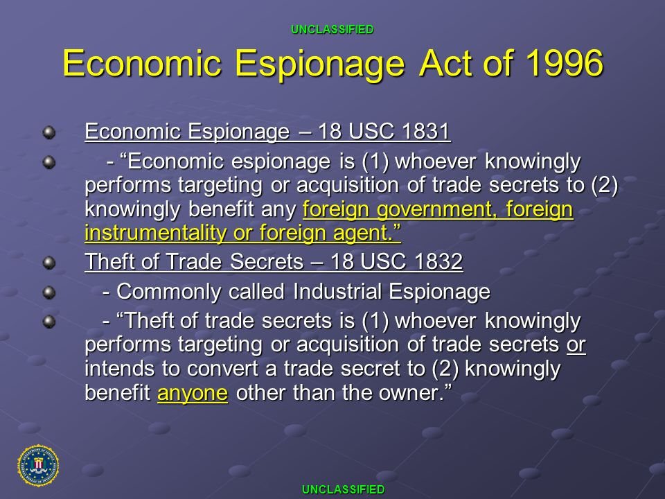 Economic Espionage Act of 1996