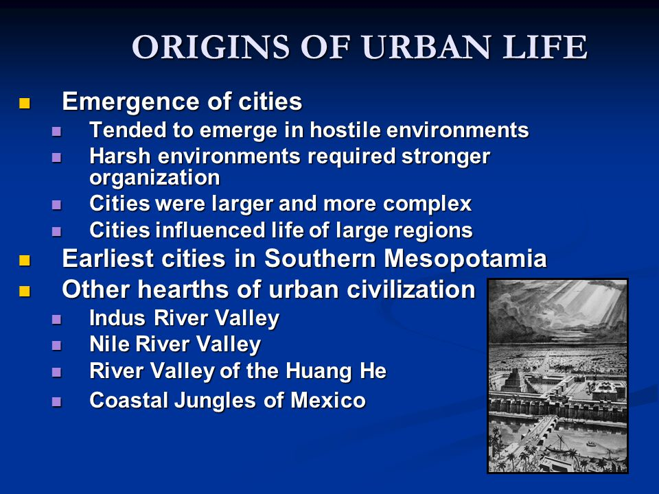 ORIGINS OF URBAN LIFE Emergence of cities