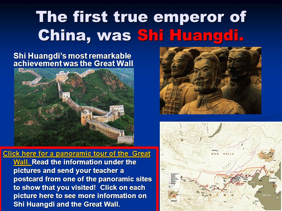 The first true emperor of China, was Shi Huangdi.