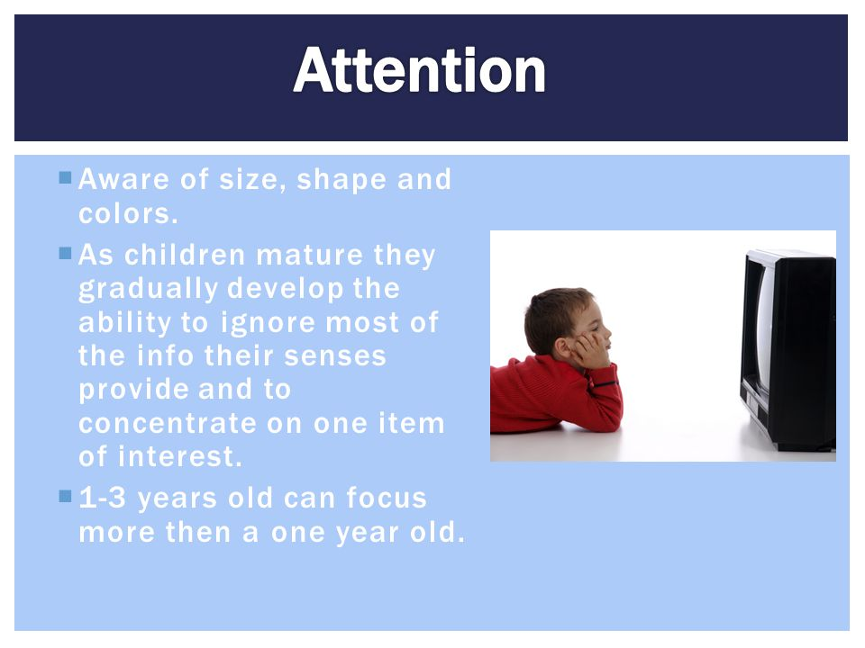 Attention Aware of size, shape and colors.