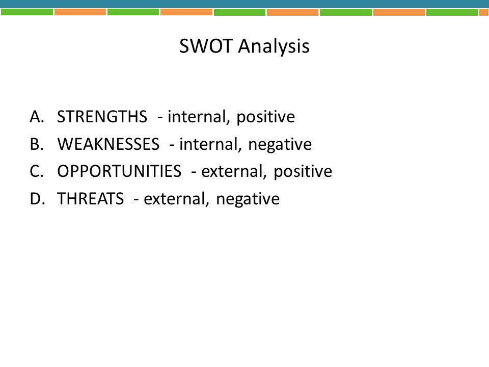 SWOT Analysis STRENGTHS - internal, positive