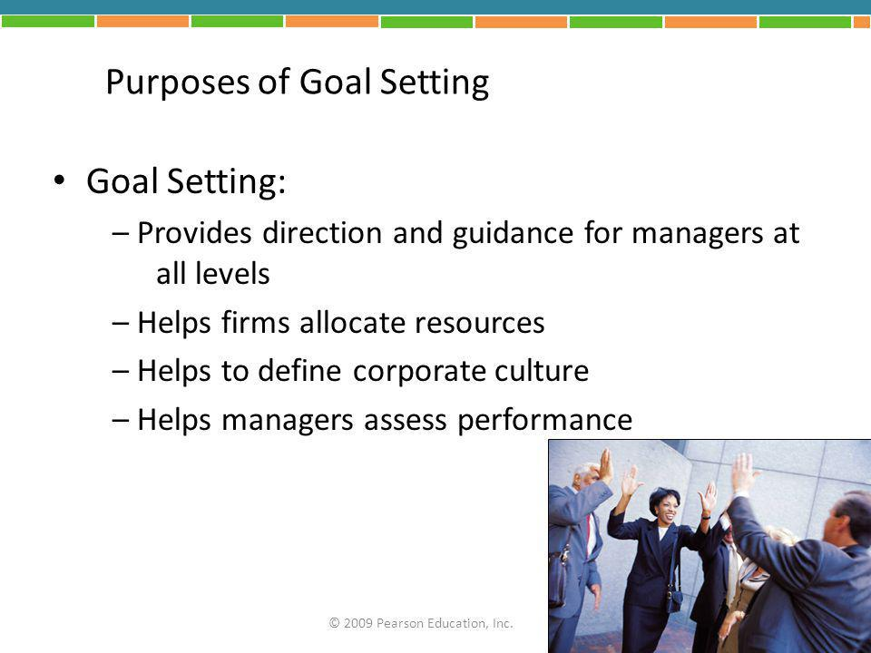 Purposes of Goal Setting
