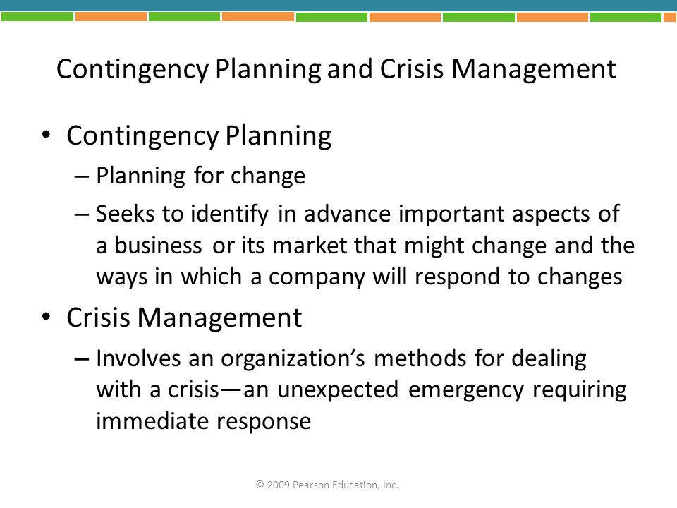 Contingency Planning and Crisis Management