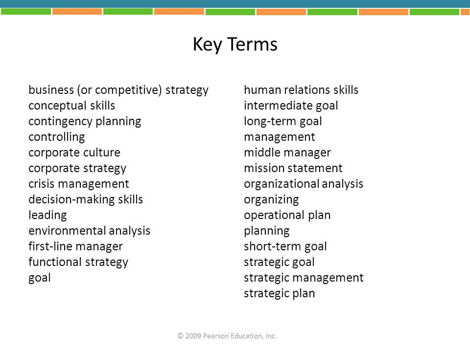 Key Terms business (or competitive) strategy conceptual skills