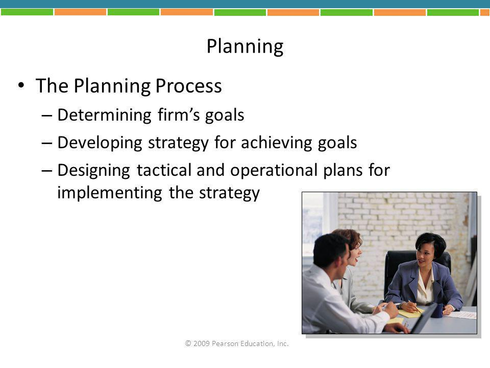 Planning The Planning Process Determining firm's goals
