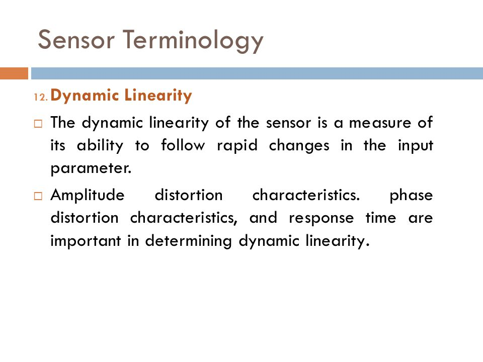 Sensor Terminology Dynamic Linearity