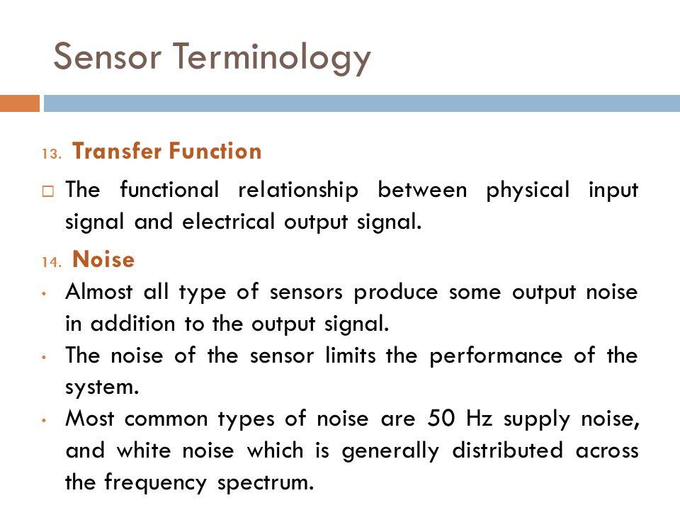 Sensor Terminology Transfer Function