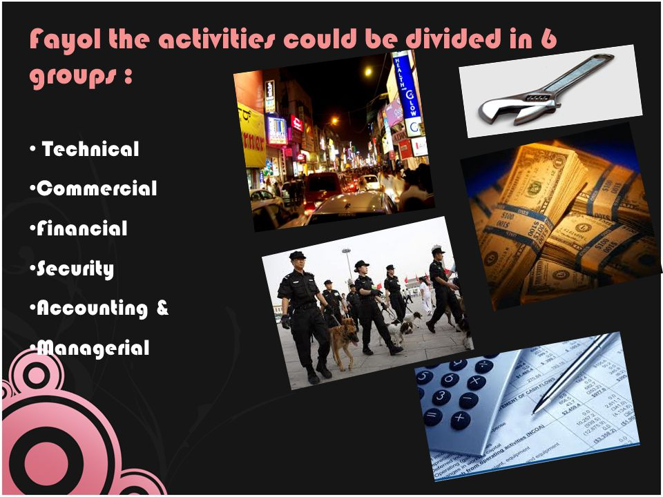 Fayol the activities could be divided in 6 groups :