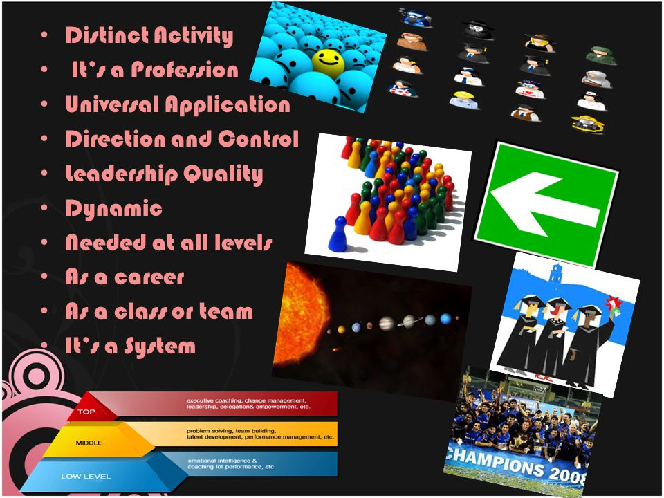 Distinct Activity It's a Profession. Universal Application. Direction and Control. Leadership Quality.