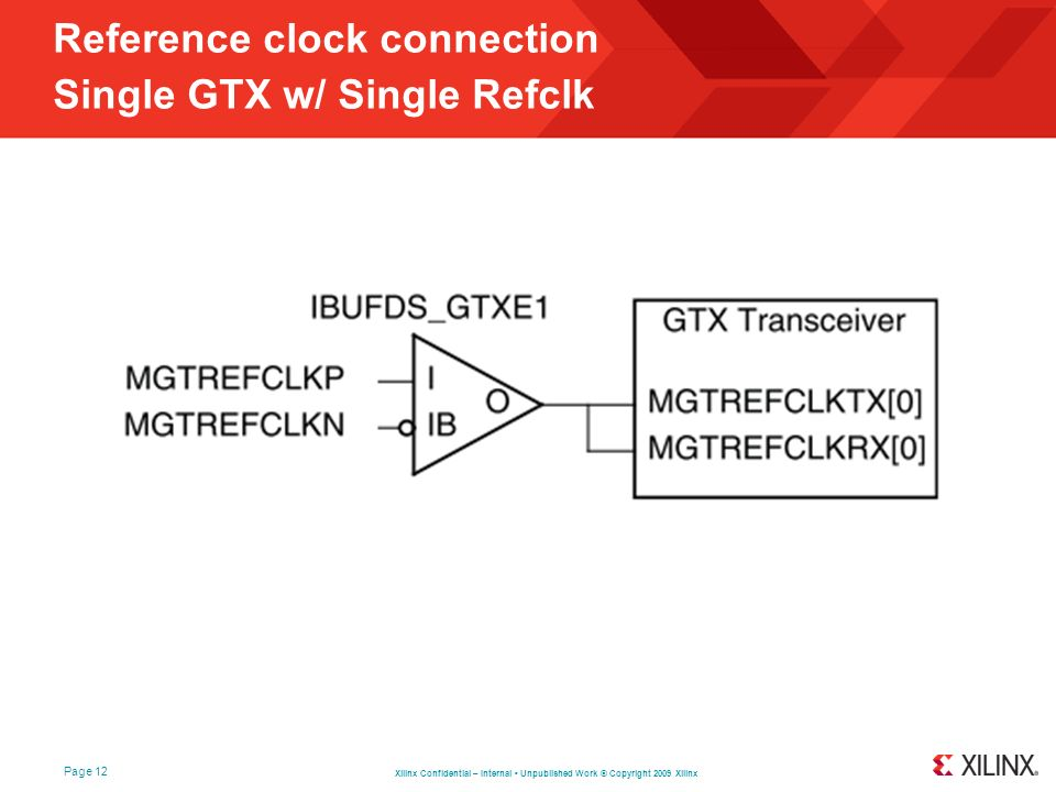 Reference clock connection Single GTX w/ Single Refclk