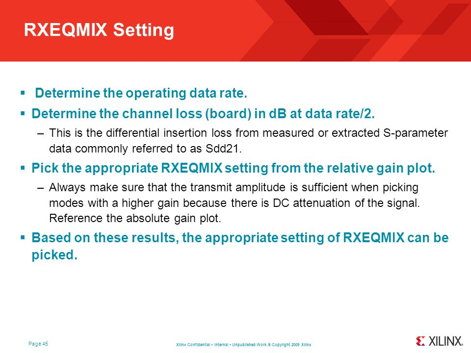 RXEQMIX Setting Determine the operating data rate.