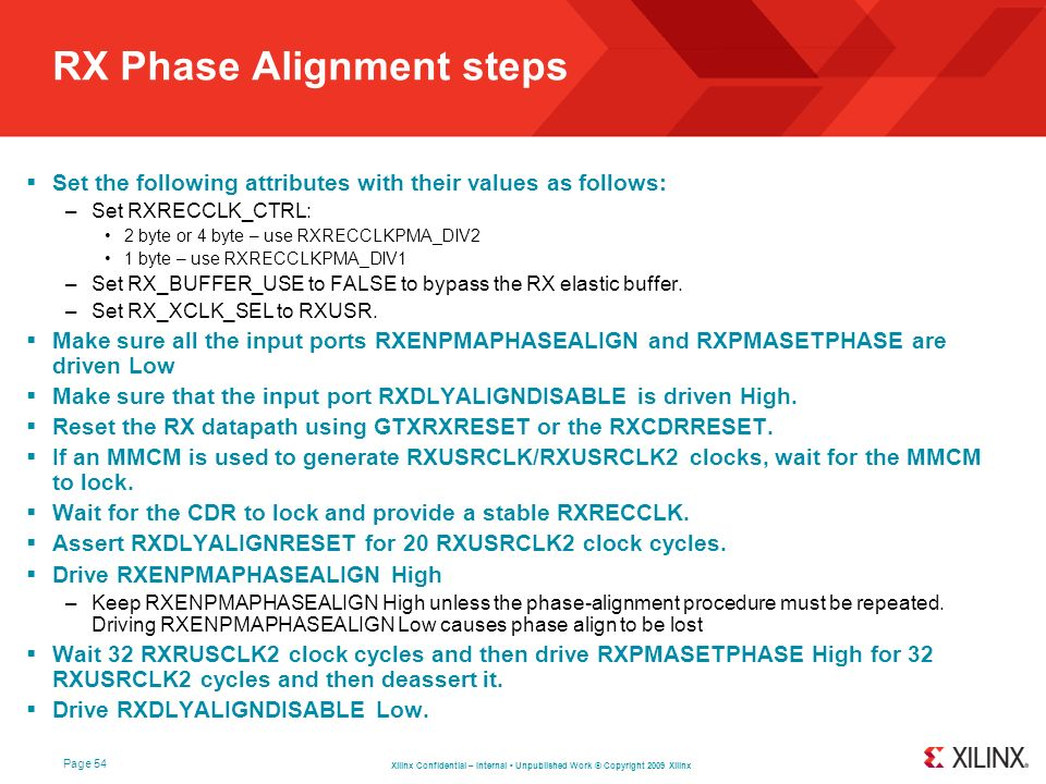 RX Phase Alignment steps