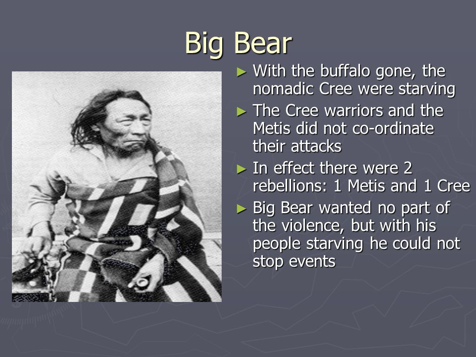 Big Bear With the buffalo gone, the nomadic Cree were starving