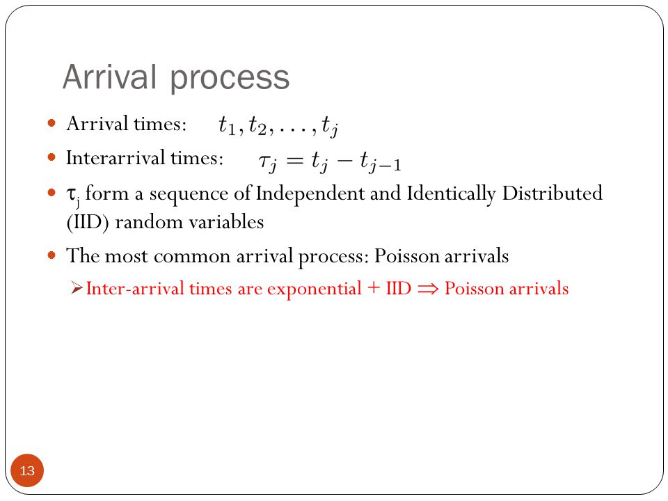 Arrival process Arrival times: Interarrival times: