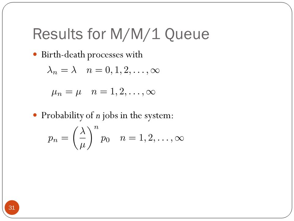 Results for M/M/1 Queue Birth-death processes with