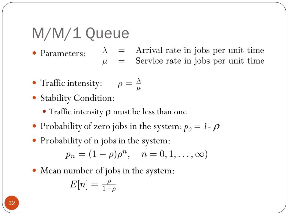 M/M/1 Queue Parameters: Traffic intensity: Stability Condition: