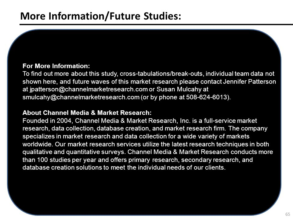 More Information/Future Studies: