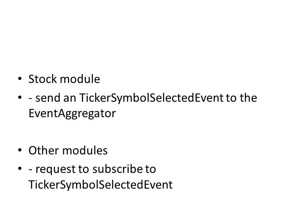 Stock module - send an TickerSymbolSelectedEvent to the EventAggregator.