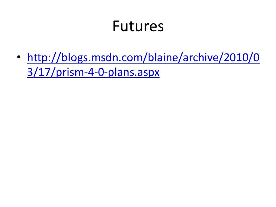 Futures http://blogs.msdn.com/blaine/archive/2010/03/17/prism-4-0-plans.aspx