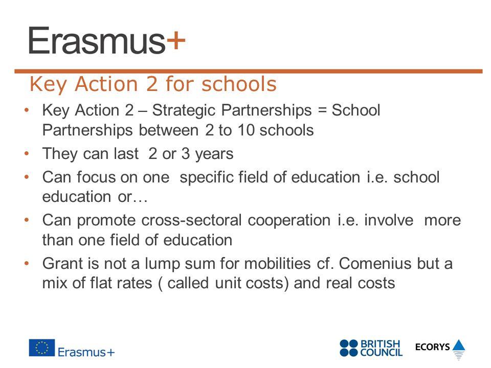 Key Action 2 for schools Key Action 2 – Strategic Partnerships = School Partnerships between 2 to 10 schools.