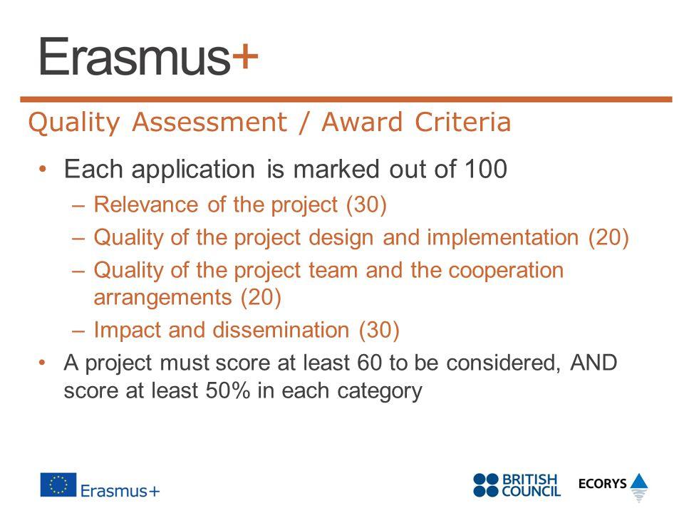 Quality Assessment / Award Criteria