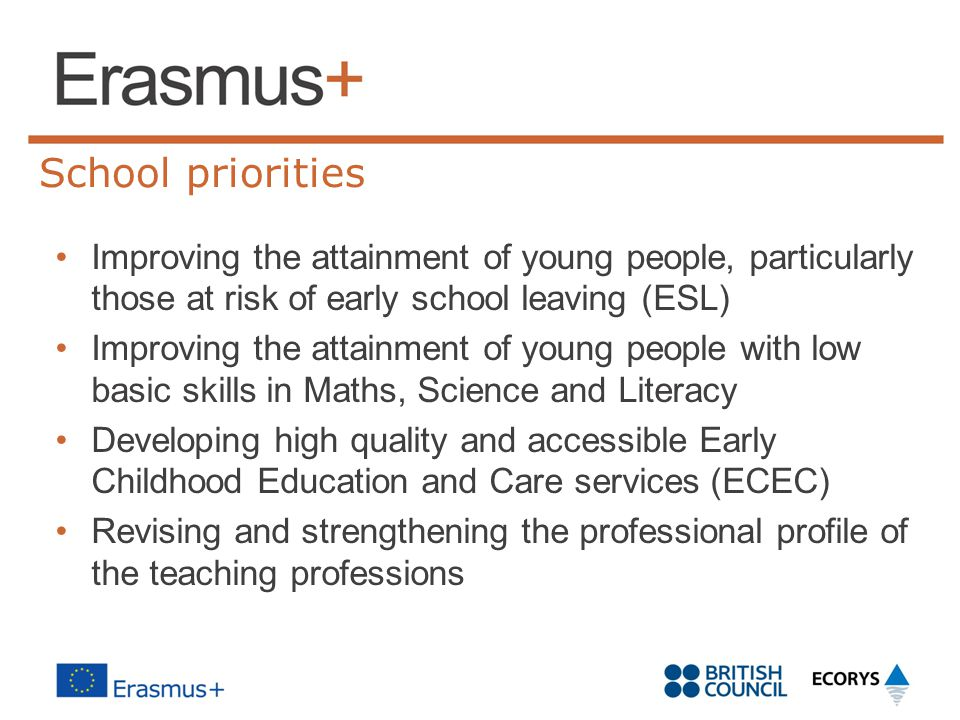 School priorities Improving the attainment of young people, particularly those at risk of early school leaving (ESL)
