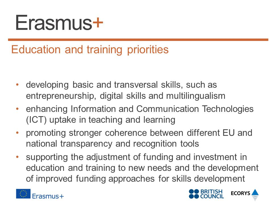 Education and training priorities