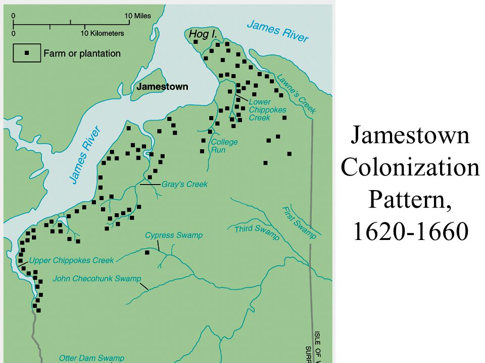 Jamestown Colonization Pattern, 1620-1660