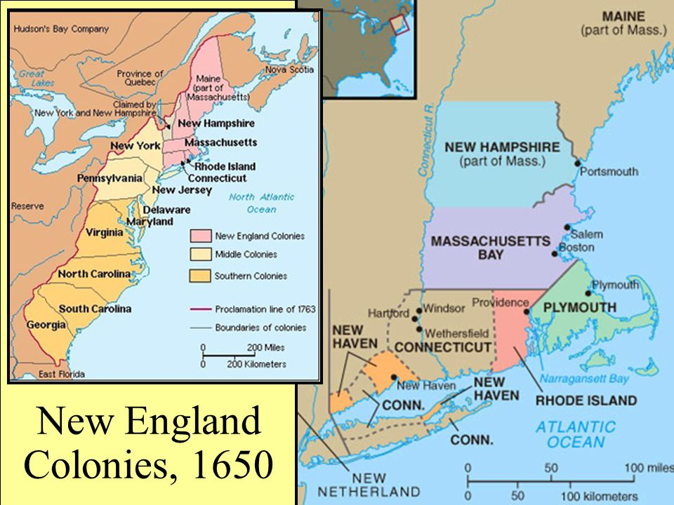 New England Colonies, 1650