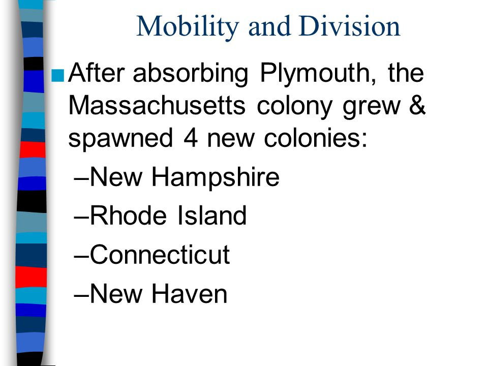 Mobility and Division After absorbing Plymouth, the Massachusetts colony grew & spawned 4 new colonies: