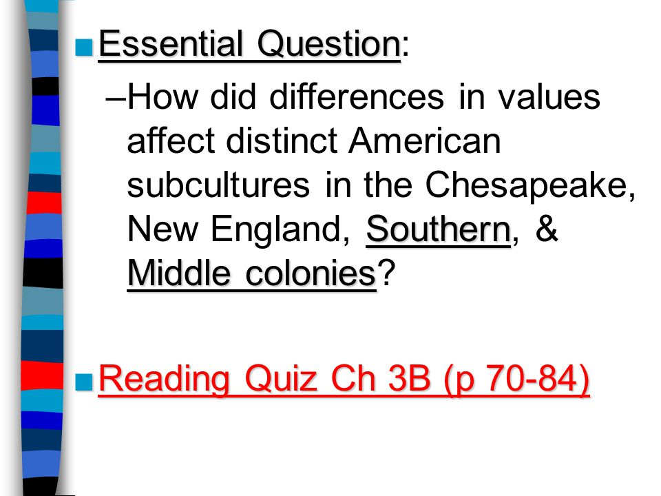 Essential Question: How did differences in values affect distinct American subcultures in the Chesapeake, New England, Southern, & Middle colonies